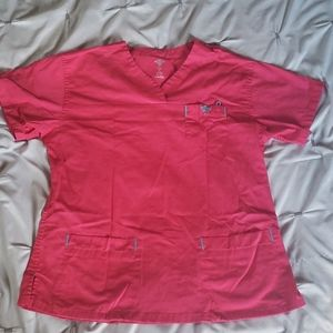 Pink and teal Med couture scrub top size small